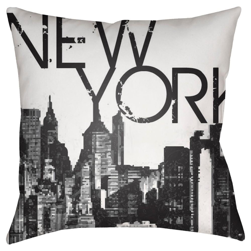White New York Throw Pillow 18