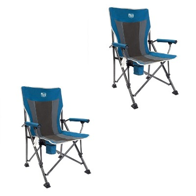 Timber Ridge Indoor Outdoor Portable Lightweight Folding Camping High Back Lounge Chair with Cup Holders and Carry Bags, Blue (2 Pack)