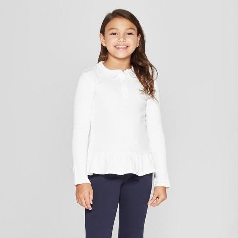 French Toast Girls' Knit Long Sleeve Peplum Uniform Polo Shirt - White M - image 1 of 3
