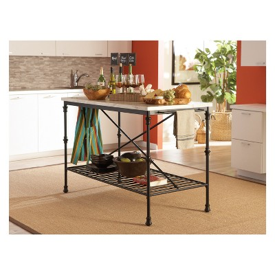Beau Private Reserves Kitchen Island Black With Faux Marble Top ...