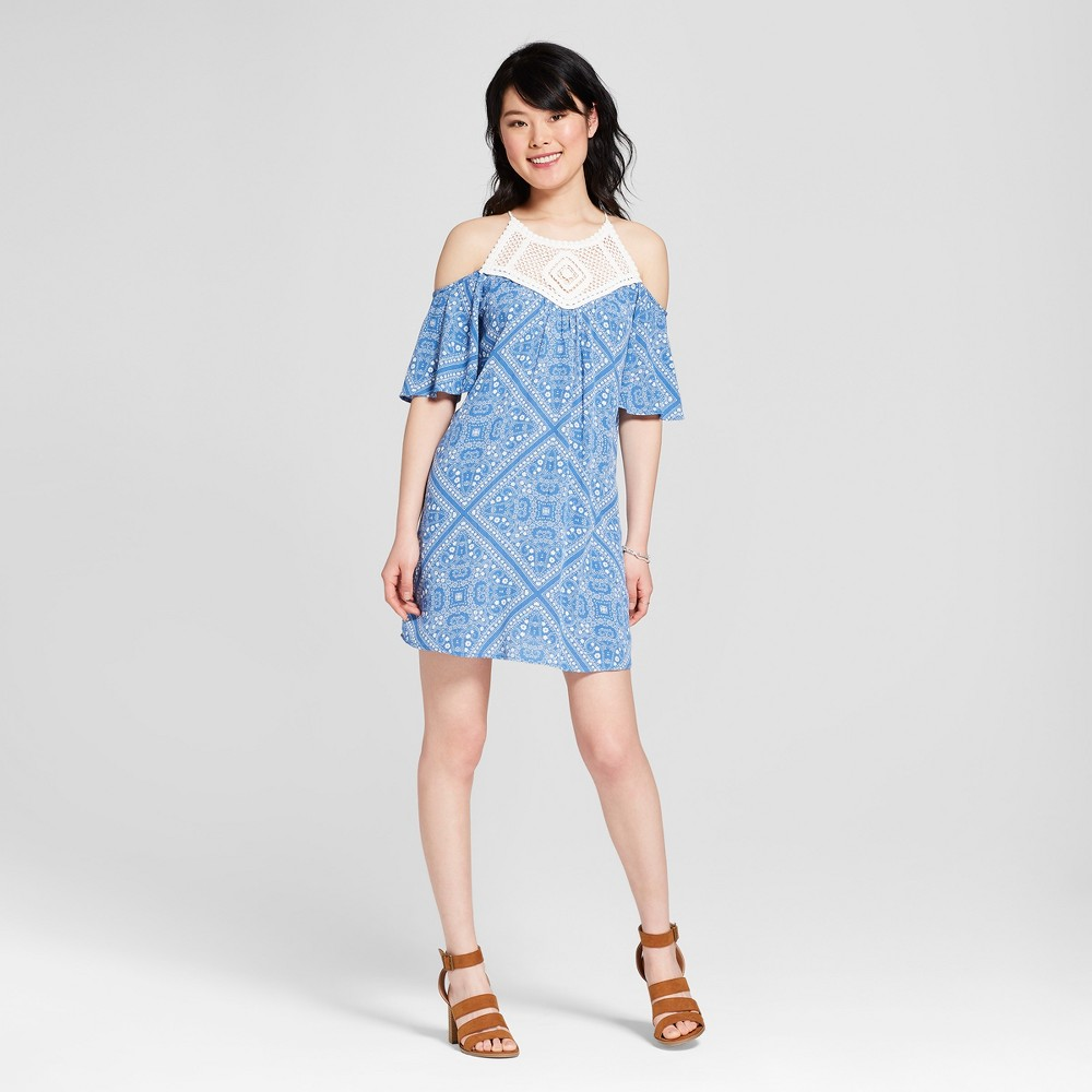 Women's Cold Shoulder Crochet Trim Dress - Lots of Love by Speechless (Juniors') Blue L was $32.99 now $13.19 (60.0% off)