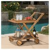 Riviera Acacia Wood Patio Bar Cart With Tray - Natural - Christopher Knight Home - image 2 of 4