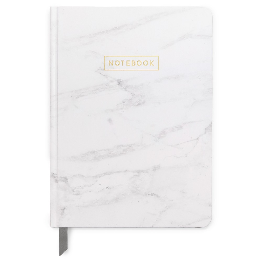 "Image of ""Lined Journal 5""""x 7.25"""" Marble with Gold Foil - DesignWorks Ink, White"""