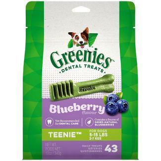 Greenies TEENIE Natural Dog Dental Care Chews Oral Health Dog Treats Blueberry Flavor - 12oz