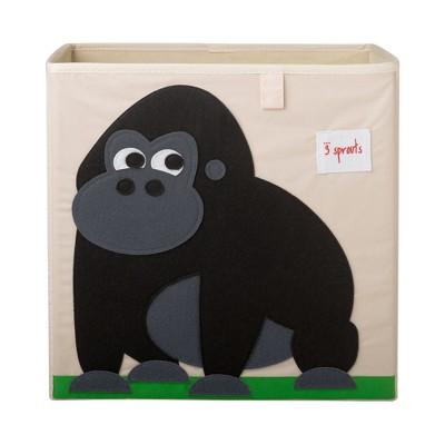 3 Sprouts Large 13 Inch Square Children's Foldable Fabric Storage Cube Organizer Box Soft Toy Bin, Friendly Gorilla
