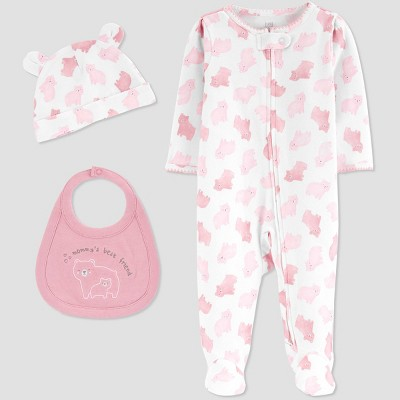 Baby Girls' 3pc Sleep N' Play with Pull-On Pants - Just One You® made by carter's Pink Newborn