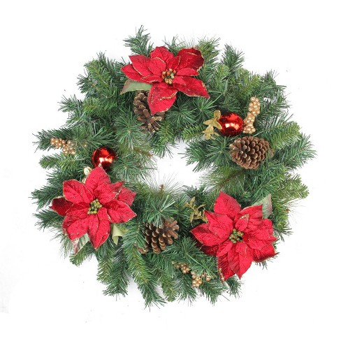 "Northlight 24"" Unlit Pine Poinsettia Berry and Pine Cone Artificial Christmas Wreath - image 1 of 2"