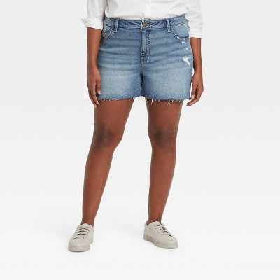 Women's Plus Size Destructed Midi Jean Shorts  - Ava & Viv™