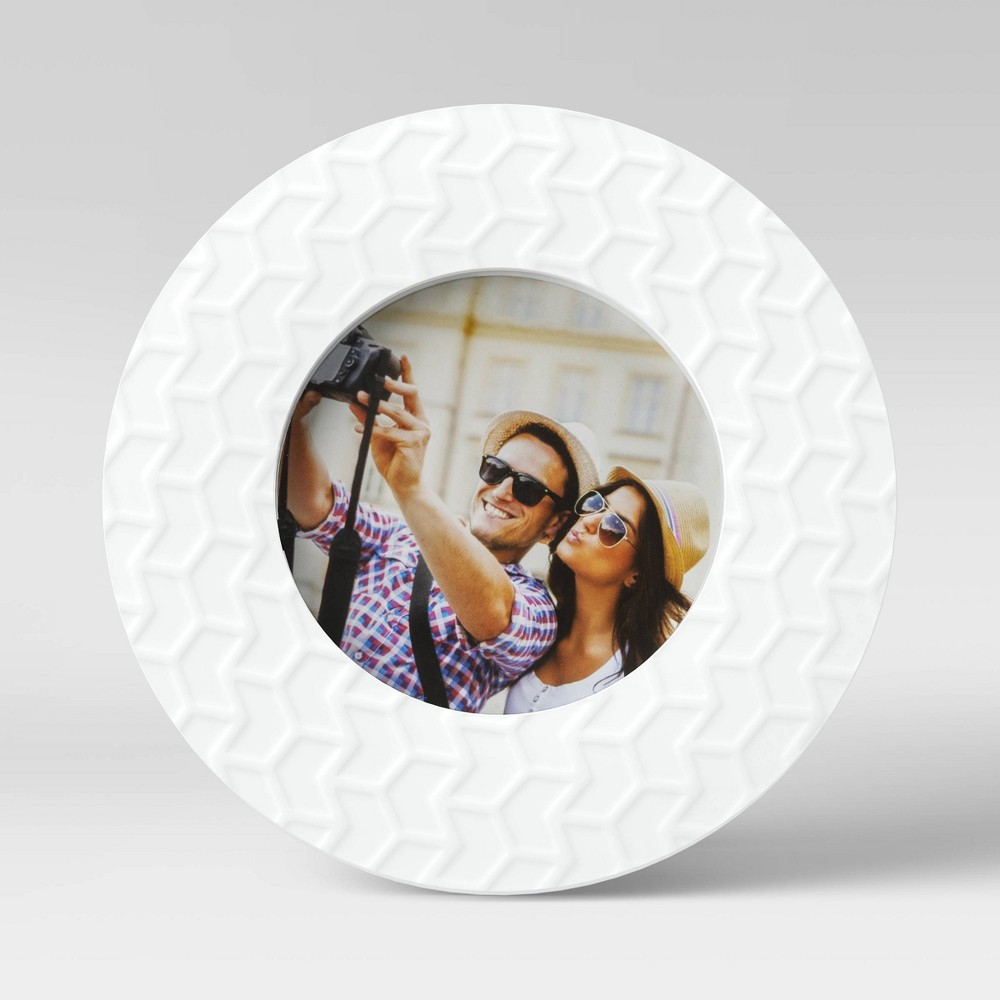 4 34 X 4 34 Round Textured Single Image Frame White Room Essentials 8482