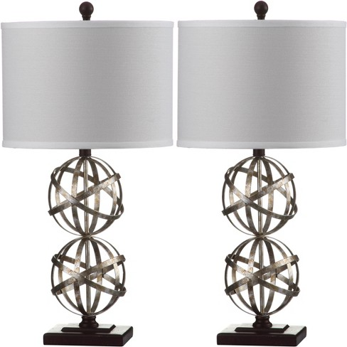 """(Set of 2) 28"""" Haley Double Spher Table Lamp Antique Silver (Includes Energy Efficient Light Bulb) - Safavieh - image 1 of 4"""