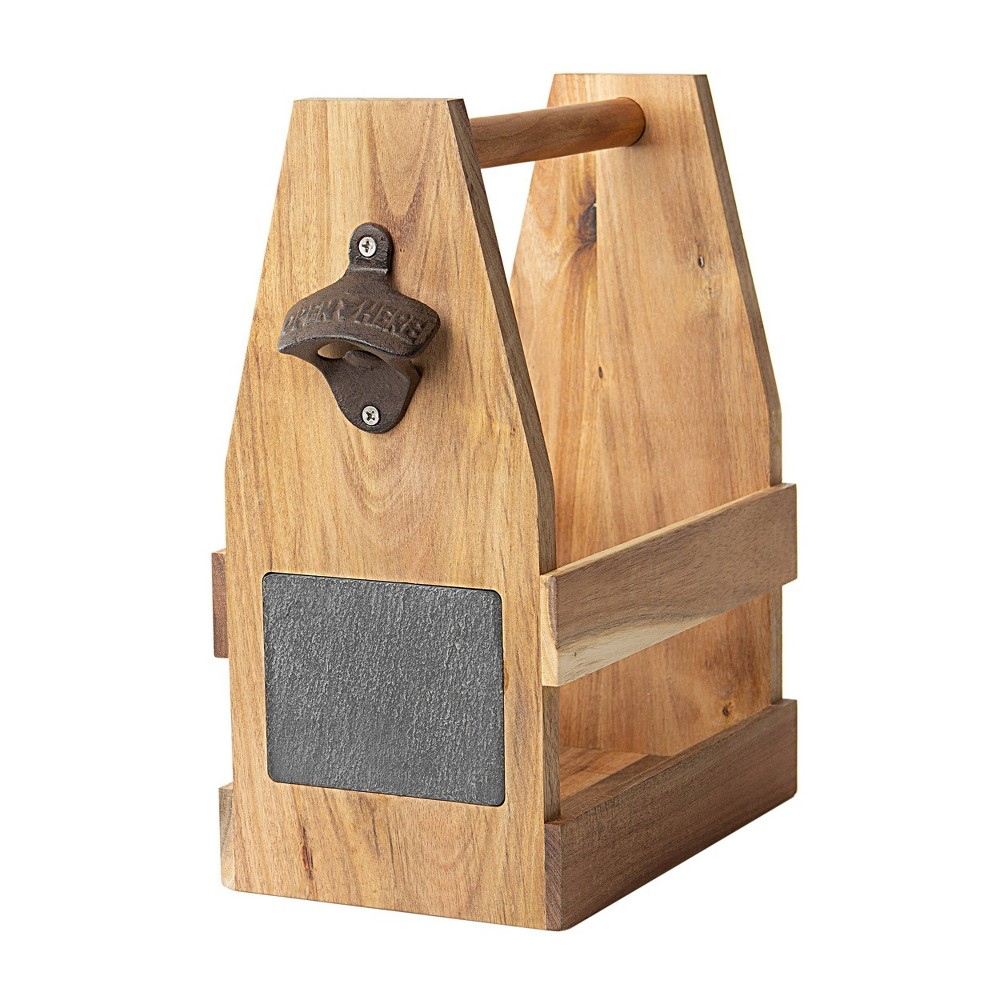 Image of Acacia and Slate Beer Carrier Wood, Brown Black