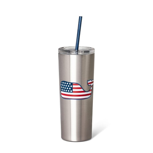 22.5oz Flag Whale Portable Lidded Drinkware - Silver - vineyard vines® for Target - image 1 of 1