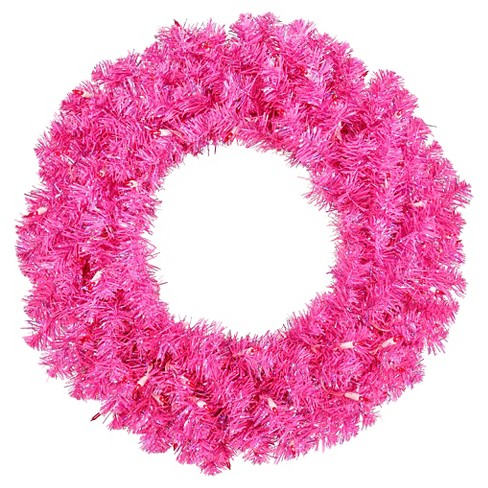 "30"" Pre-Lit Christmas Wreath Hot Pink - Pink Lights - image 1 of 1"