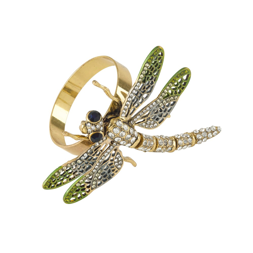Jeweled Dragonfly Napkin Ring Set of 4 - Saro Lifestyle, Green