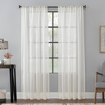 Celeste Textured Linen Blend Sheer Rod Pocket Curtain Panel - Scott Living
