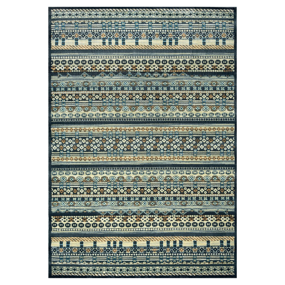 Rizzy Home Sorrento Collection Area Rug - Multi-colored Stripes (5'3