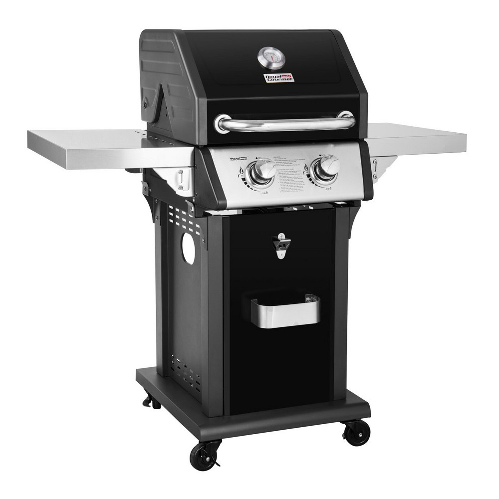 Royal Gourmet – 2 Burner Liquid Propane Gas Grill with Side Shelves – GG2005 – Black 53403434
