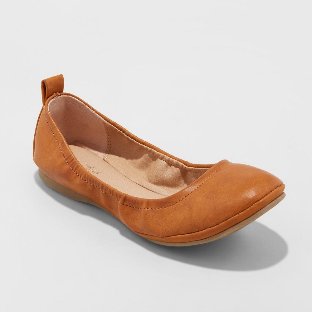 Women's Delaney Wide Width Round Toe Ballet Flats - Universal Thread Cognac (Red) 6W, Size: 6Wide