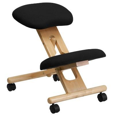 Mobile Wooden Ergonomic Kneeling Chair in Black Fabric - Belnick