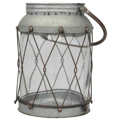 Stonebriar Rustic Galvanized Metal Candle Lantern