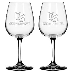NCAA Satin Etch Wine Glass 12oz 2pk