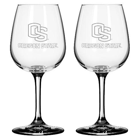 NCAA Satin Etch Wine Glass 12oz 2pk - Oregon State Beavers - image 1 of 1