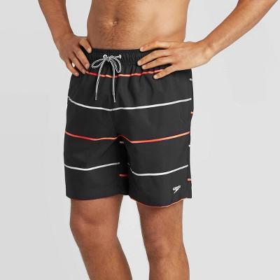 "Speedo Men's 8"" Striped Volley Swim Shorts - Black"
