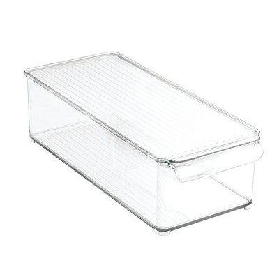 mDesign Plastic Kitchen Food Storage Bin with Lid for Pantry, Fridge - Clear