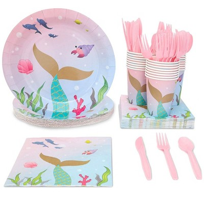 Juvale 144-Piece Serves 24 Disposable Mermaid Party Supplies - Disposable Plates, Cutlery, Cups & Napkins