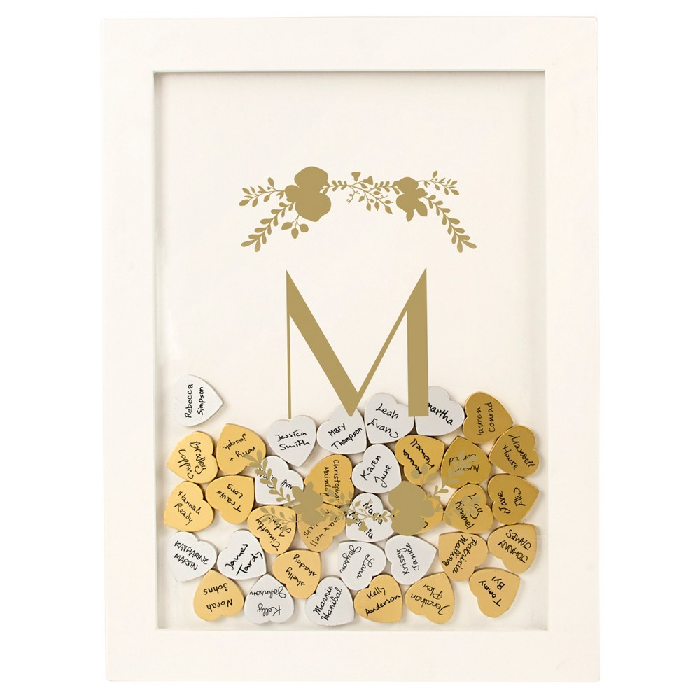 'm' Guestbook Dropbox Floral Gold, White - M