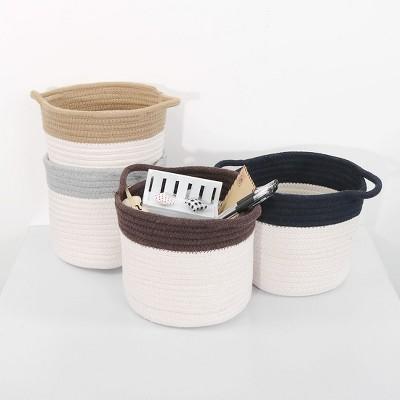 1 Pc Cotton Rope Home Cylindrical Rope Storage Bin Box - PiccoCasa