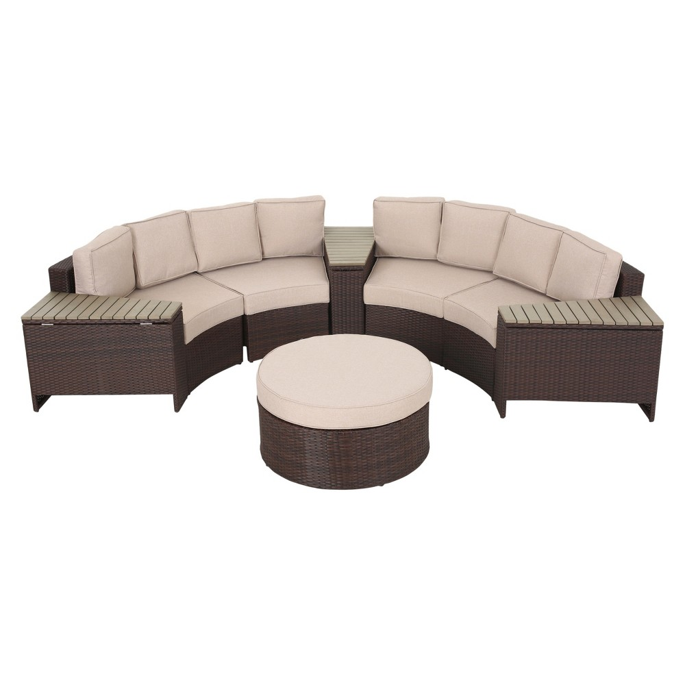 Madras Tortuga 8pc All-Weather Wicker Patio 1/2 Round Seating Set w/ Ottoman - Brown/Beige - Christopher Knight Home