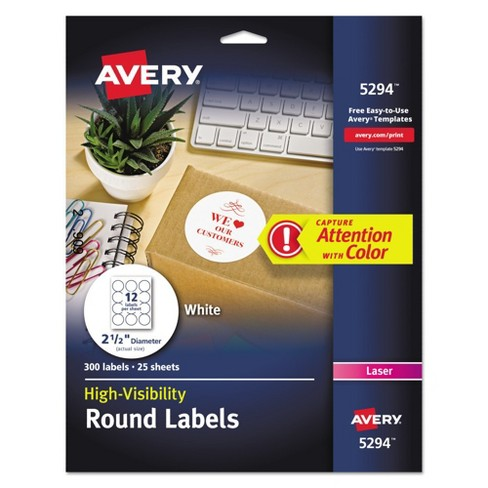 avery 2 1 2in dia high visibility round laser labels white 300