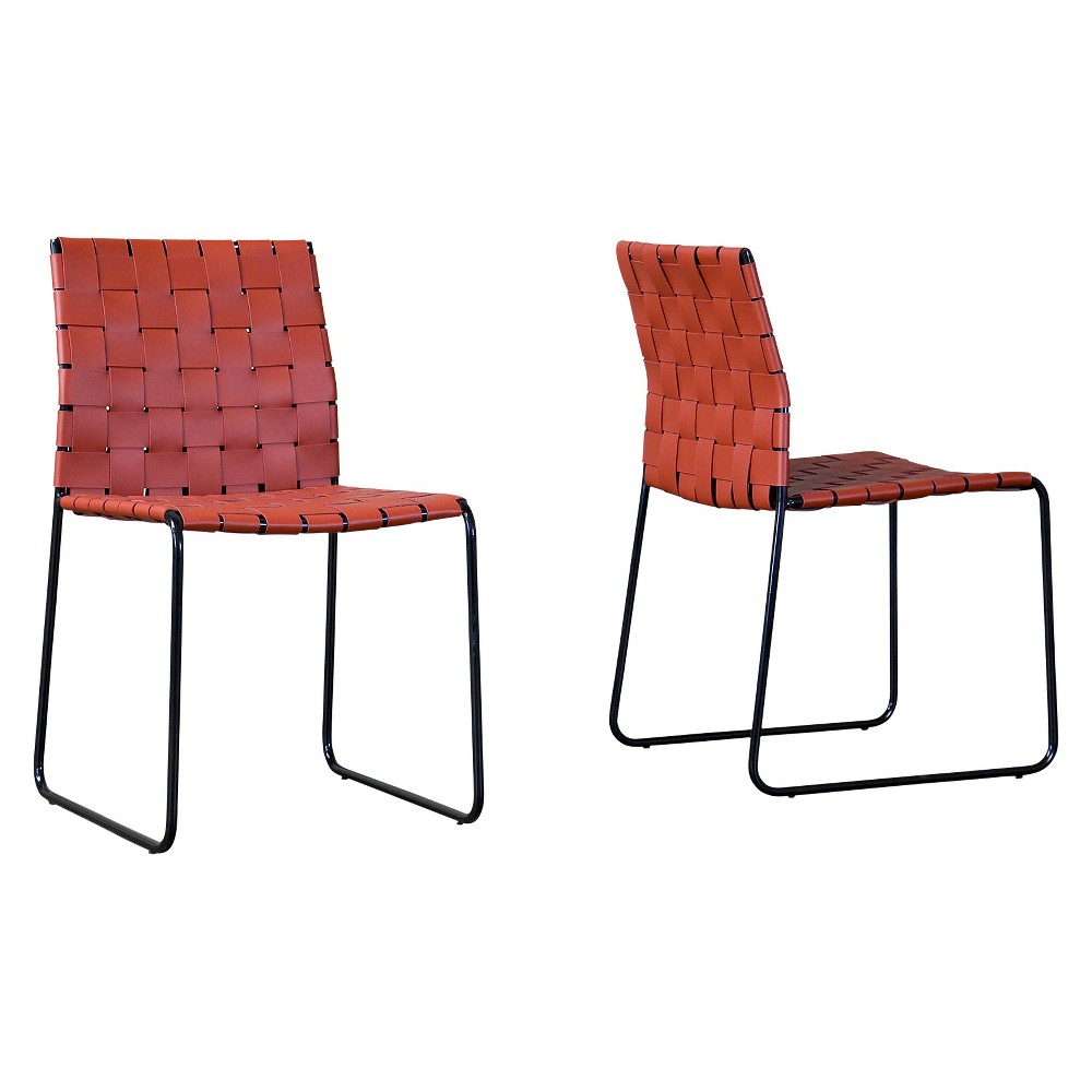 Fairfield Dining Chair - Red (Set Of 2) - Baxton Studio