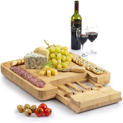 Zulay Kitchen Cheese Board and Knife Set (Bamboo)