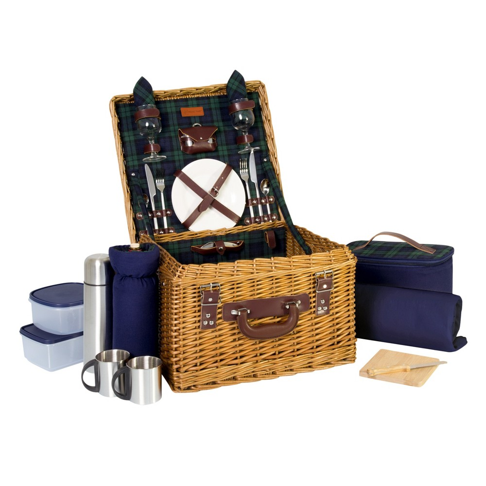 Image of Picnic Time 15pc Canterbury Picnic Basket, Brown