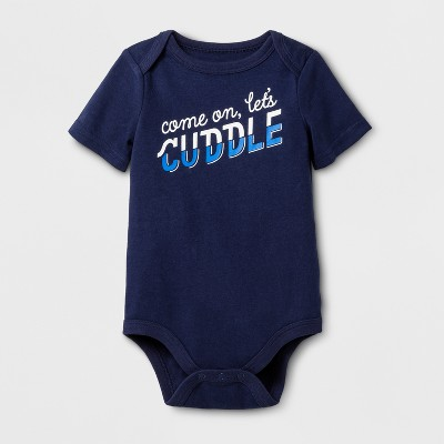 Baby Boys' Short Sleeve Come On Lets Cuddle Bodysuit - Cat & Jack™ Black 0-3 M