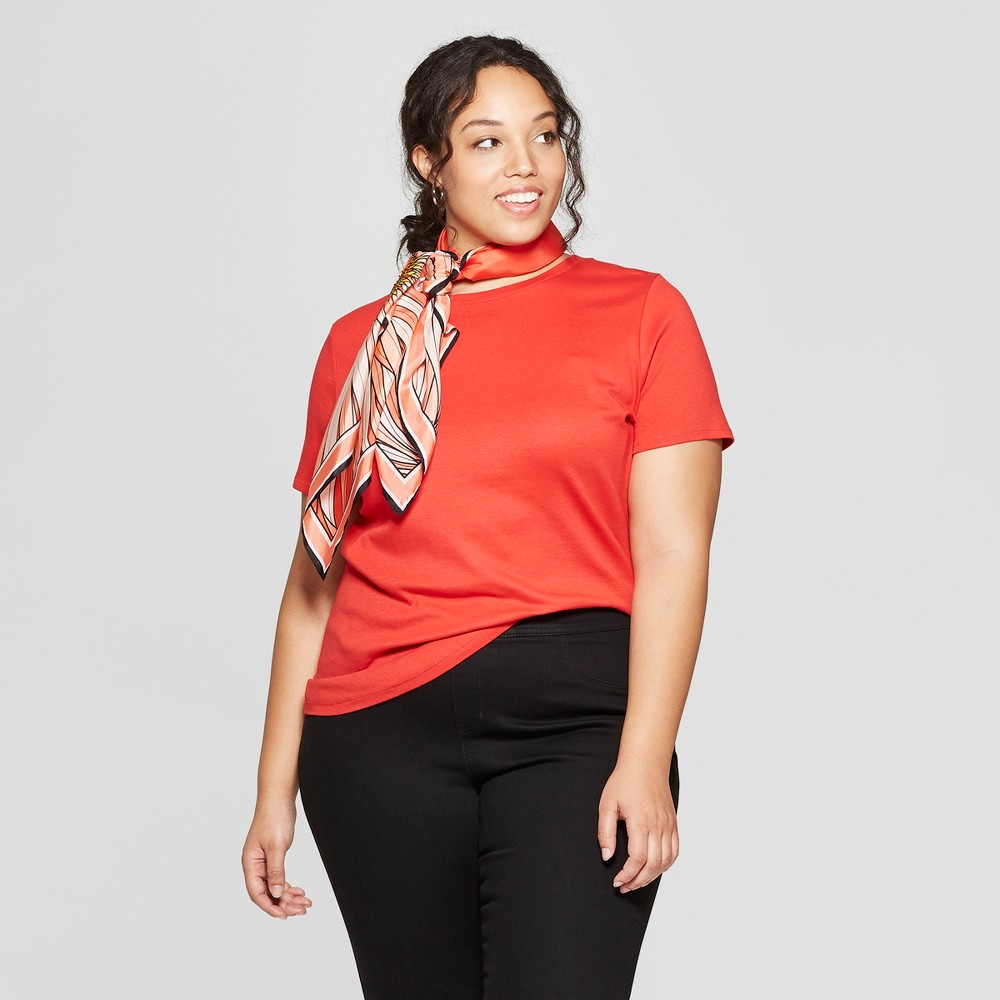 Women's Plus Size Short Sleeve Crew Neck T-Shirt - Ava & Viv Red 2X