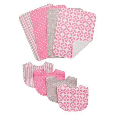 Trend Lab 8pc Baby Bib and Burp Cloth Set - Lily