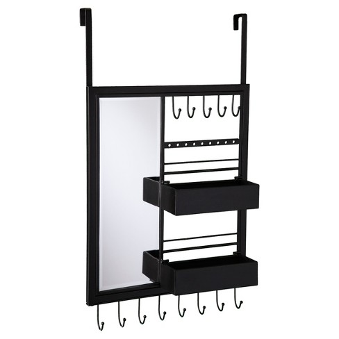 Kayla Over-the Door Jewelry Mirror/Anywhere Storage - Matte Black - Aiden Lane - image 1 of 3