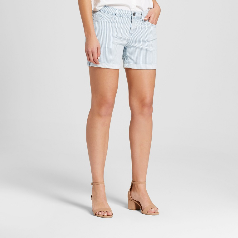Women's Mid Rise 5 Roll Cuff Jean Shorts - Crafted by Lee Light Wash 14, Blue