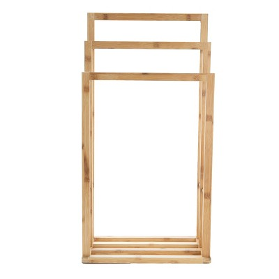 Mind Reader Three Tier Freestanding Bamboo Towel Drying Rack with Bottom Shelf