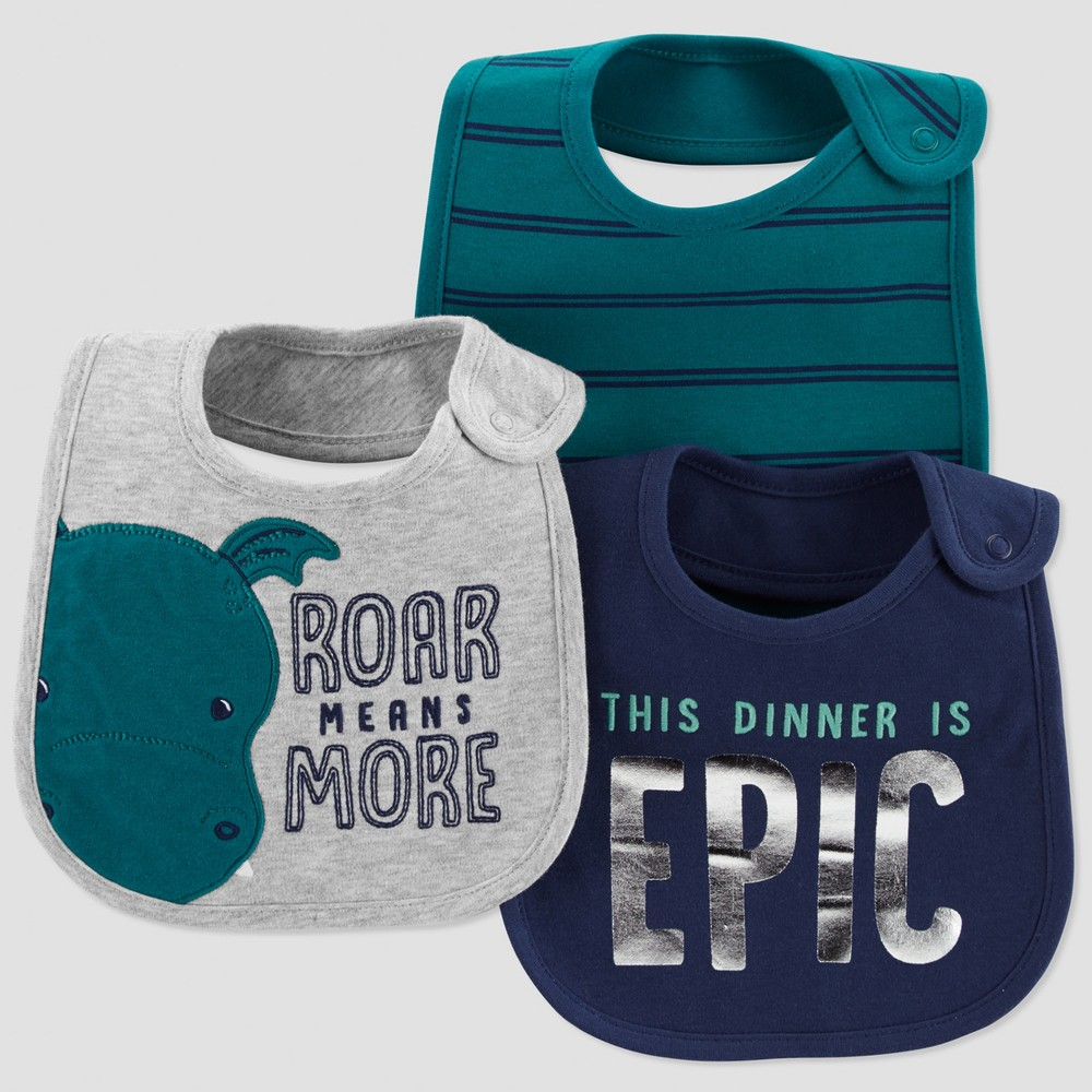 Baby Boys' 3pk Roar Means More Bib - Just One You made by carter's Green