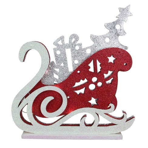 Raz Imports 13 25 Red And Silver Led Lighted Sleigh Silhouette Christmas Tabletop Decor Target