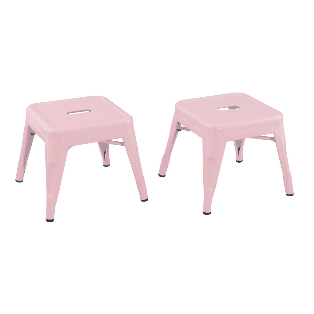 Image of Set of 2 Kids Metal Stool Blush Pink - Acessential