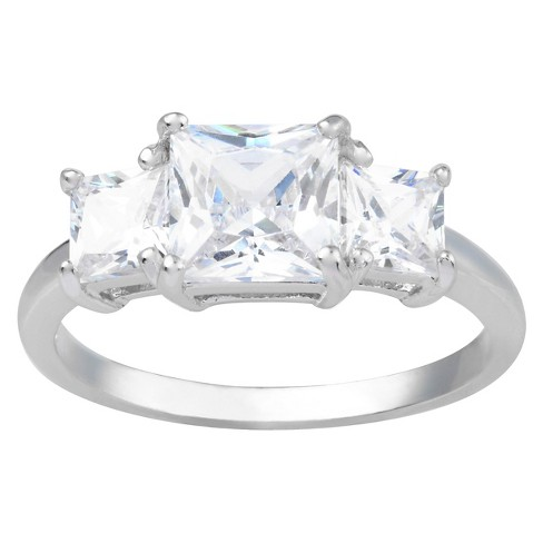 1 3/8 CT. T.W. Emerald-Cut Cubic Zirconia Basket Set Three-stone Engagement Ring in Sterling Silver - Silver - image 1 of 2