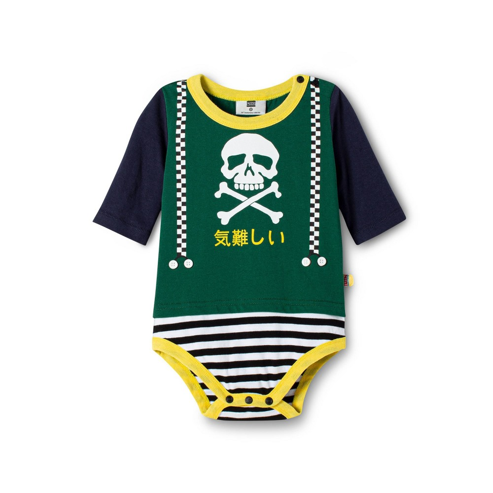 Image of Baby Boys' Skull Graphic Long Sleeve Crewneck Bodysuit - Harajuku Mini for Target Green 12M, Men's