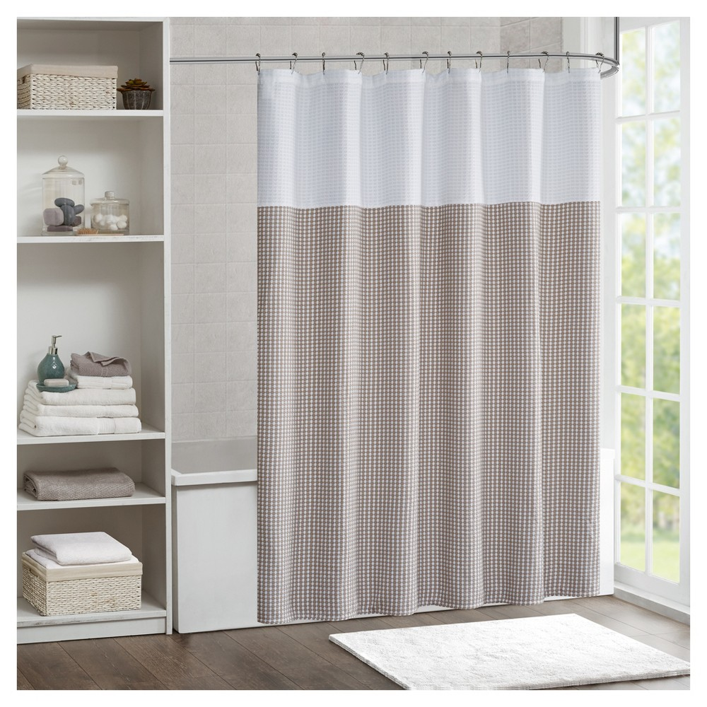 Jacquard Shower Curtain Taupe Brown
