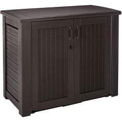 Rubbermaid Weather Resistant Resin Chic Outdoor Patio Storage Cabinet, Black Oak
