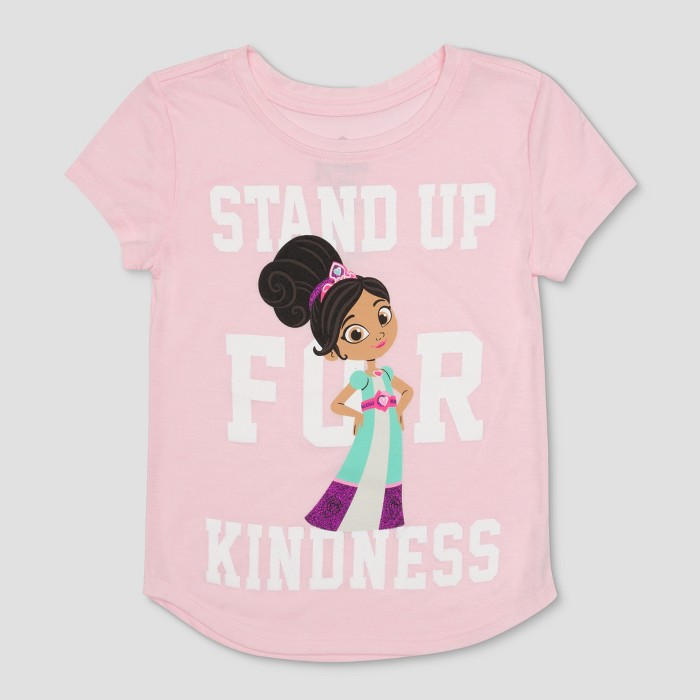 Toddler Girls' Nella the Princess Knight Fearless Short Sleeve T-Shirt - Light Pink - image 1 of 2